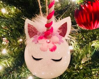 Sleepy Eyes Unicorn Ornament