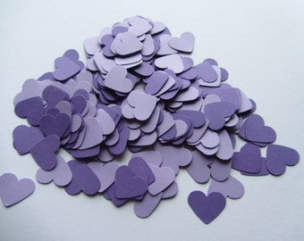 Wedding confetti hearts - Purple - Paper hearts - 200 die cut hearts - paper heart confetti - weddings