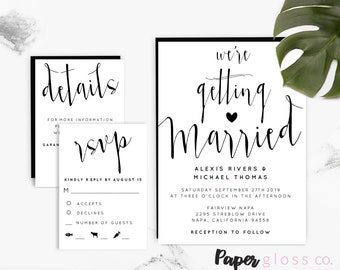 INSTANT DOWNLOAD Black and White Modern Calligraphy Wedding Invitation Template, Rustic Wedding Invitation, Printable Wedding Invitation