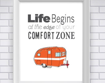 Life Sayings: Life Begins At the Edge of Your Comfort Zone (Digital Print)