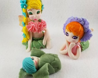 Fondant Fairies and Flowers Cake Toppers