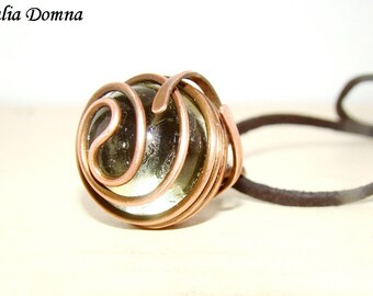 Circle necklace - copper wire wrap