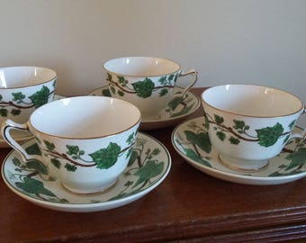 4 Vintage Ivy Cup and Saucers….Marriage Wedgwood Crown Staffordshire.