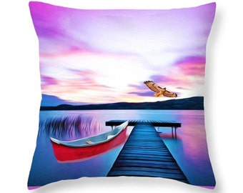 Nature Throw Pillow, Purple Sunset, Red Tailed Hawk, Red Canoe, Pillow Cushion, Home Decor, Couch Pillow, Wildlife Decor, Purple and Red