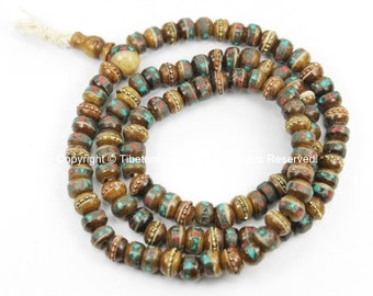 108 beads  6mm-7mm Size Tibetan Antiqued Bone Mala Prayer Beads with Brass, Turquoise & Copal Inlay- Tibetan Beads- BoneMala Beads - PB21XS