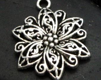 Pewter Ornate Design Floral Pendant - Set of 5 - Make Your Own Creation!