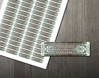 Rustic Turquoise Lace Return Address Labels DIY Avery Labels for Printing Yourself Rustic Wedding Printable Address Labels Digital File