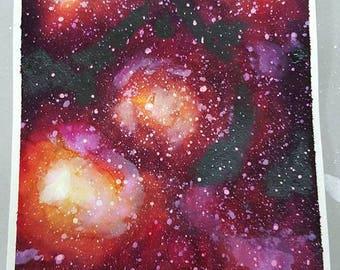 Red and Yellow Multicolor Original Watercolor  Galaxy Space Nebula Night Sky Stars