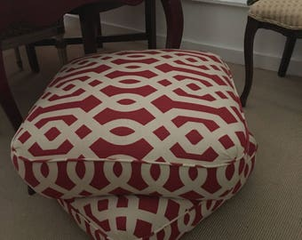 Ottoman Red and white transtional fabric . Grometric