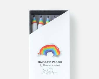 Rainbow Pencils - The SUPER 5 pack, WHITE (recycled paper pencil set for unique stationery addicts)