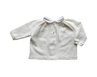 FRENCH VINTAGE 50/60's / baby shirt / cream wool jersey + white collar / new old stock / size 6 months