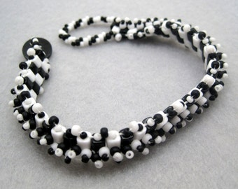 Beaded Cuff Bracelet - Monochromatic Black and White Retro Charm by randomcreative on Etsy