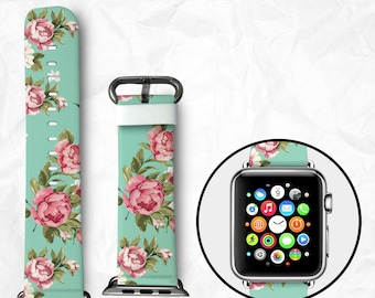 Floral Apple Watch Band for Series 1 Series 2 Series 3, Leather Strap Wrist Band with Metal Clasp 38mm 42mm Adapter - Beautiful Rose