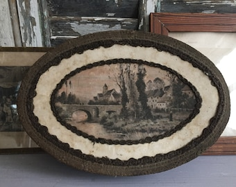 Vintage French Pretty Chocolate Box. Decorative Cardboard Candy Box with Country scene on the lid.