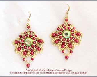 DIY Photo Tutorial eng-ITA *Izumi*earrings ,PDF Pattern 91 with Pearls,swarovski&seed beads,instructions,beadweaving