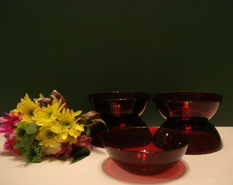 5 - Small Dessert Bowls Royal Ruby Pattern by Anchor Hocking