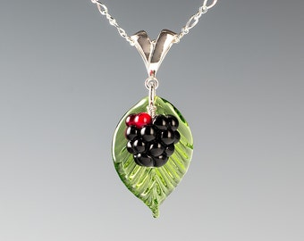 Blackberry Necklace  lampwork bead jewelry hand blown glass art Birthday gift, Mother's Day gift for gardener, cook, chef