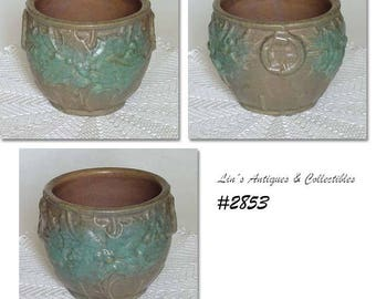 McCoy Pottery Holly Berries and Leaves Stoneware Jardiniere in a Rare Color (Inventory #2853)