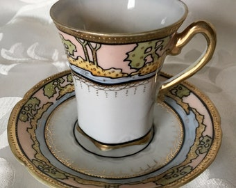 Nippon Teacup Chocolate Cup Hand Painted Art Nouveau