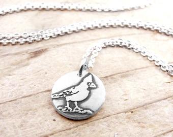 Tiny Cardinal necklace, Cardinal jewelry, silver bird jewelry, bird necklace