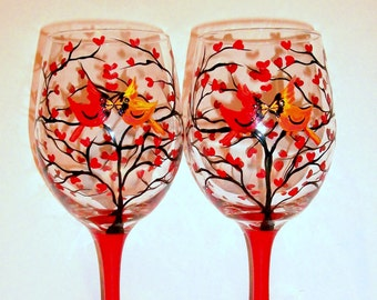 Cardinals Hand Painted Wine Glasses Love Birds & Heart Tree Set Of 2  - 20 oz. White Wine Glasses Valentines Day Red Hearts Red Birds Red