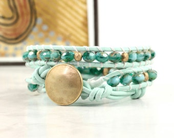 Mint Green Wrap Bracelet Gold Beaded Bracelet Seafoam Green Leather Wrap Bracelet Bohemian Jewelry Beach Bracelet Turquoise Leather Jewelry