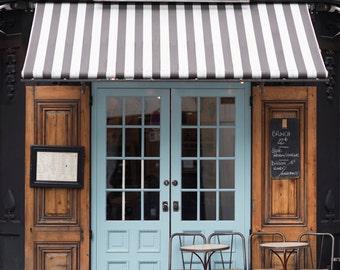 Paris Cafe Photograph, Malabar Cafe, Large Wall Art, French Kitchen Decor, Striped Awning, Blue Door, Travel Photograph