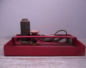 red metal  tool caddy / red metal tool tote / red metal tool tray