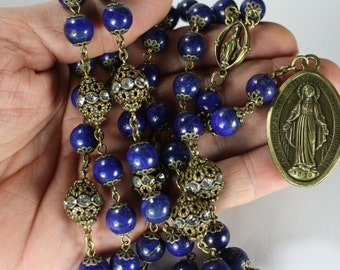 Miraculous Seven Sorrows Rosary 7 decades of 7 beads Lapis bronze made Oklahoma