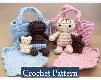 Amigurumi PATTERN Crochet Baby Doll Playset Moses Basket with Doll Pattern with Permission to Sell