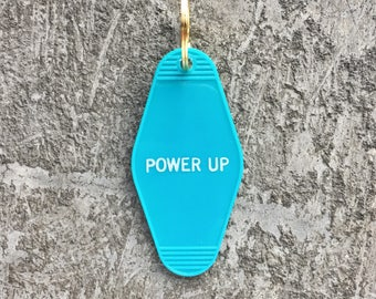 Power Up Hotel Key Chain in Turquoise Blue and White Key Tag Key Fob Motel Key