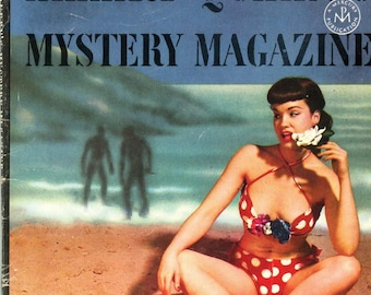 Bettie Page   Ellery Queen's Mystery Magazine   1953   Miss Page wears a pretty Red & White Polka-Dot Bikini   Retro Gorgeous !