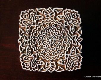 Textile Stamp, Pottery Stamp, Indian Wood Stamp, Tjaps, Blockprint Stamp- Square Floral Motif