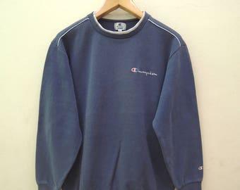 Vintage Champion Minimalist Logo Sweatshirt Sport Street Wear Swag Hip Hop Pull Over Size L