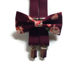 shabby roses bow tie burhundy weddins men's bowties wine Y-back suspendrers set for boys  for groomsmen and groom rindbearer kids toddller
