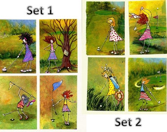 GOLF NOTE CARDS Mini painting prints Golf gift ladies golfing art print set 4 note cards golf tee favors golf tournament table setting
