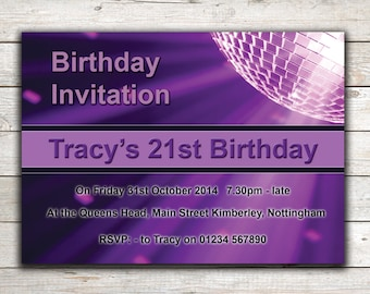 Personalised birthday invitations, Party Invites, 18th 21st 30th 40th 50th 60th Any Age, Design 12