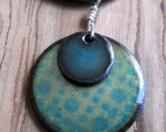 Enamel Necklace, Water Blue and Olive Green Pendant, Copper Enamel Jewelry, Stacked Circle Jewelry, Prairie Style