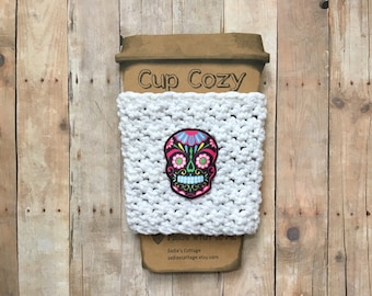 Coffee Cozy, Coffee Sleeve, Sugar Skull, Sugar Skull Coffee, Coffee Cup Cozy, Coffee Cup Sleeve, Reusable Cup Sleeve, Reusable Coffee Sleeve