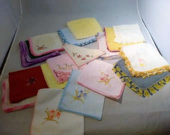 Vintage Handkerchief Lot of 15 Hankies, Embroidery, Tatting, Lace, Trimmed Clean and Pressed #C234