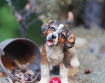 Dollhouse dog. 1:12 scale. Can be painted as a Golden Retriever or Bernese Mountain Dog.  It can also be custom painted from photographs