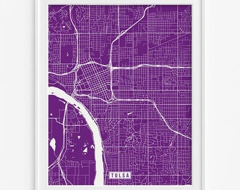 Tulsa Print, Oklahoma Poster, Tulsa Map, Tulsa Poster, Oklahoma Print, Oklahoma Map, Street Map, Livingroom Decor, Fathers Day Gift