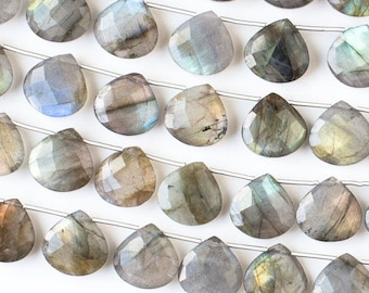 Labradorite Gemstone Briolette Beads - Faceted Hand Cut - Grade AAA - 14mm  - Top Drilled Horizontal 1mm - 01 pieces per order