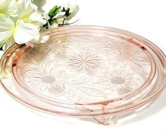 Jeanette Glass Pink Depression Glass Cake Plate Sunflowers