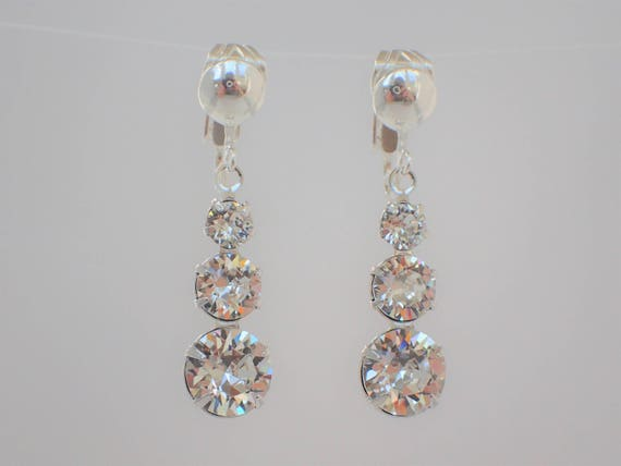 Graduated Swarovski Crystal Clip On Earrings, Sterling Silver
