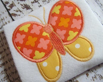 Applique butterfly machine embroidery instant download design, summer time insect, beautiful butterfly, spring garden butterfly
