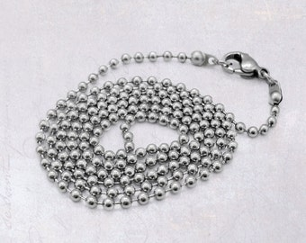 """4 x 60cm (23.5"""") Stainless Steel 2.5mm Ball Chain Necklaces with Lobster Clasp"""