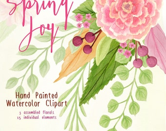 watercolor flowers clipart, spring flowers pink and green florals clip art, watercolor peony wedding graphics, laurels for invites