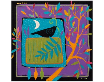 CROW & MOON, small painting, Art, Painting on Canvas , original artwork, 6 x 6 inches,home decor,wall art