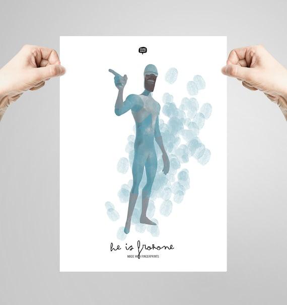 Wall art decor.  The Incredibles. Frozone. Fingerprint. Printable art. Digital print. Illustration. Instant digital download